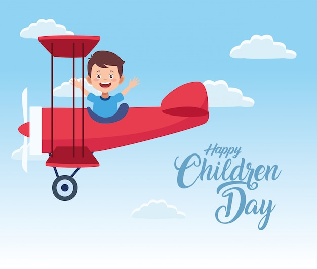 Счастливое празднование дня детей с мальчиком летать в самолете