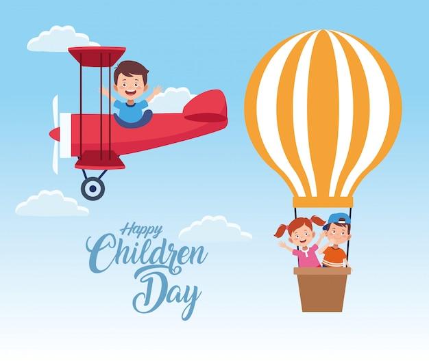 飛んでいる子供たちと幸せな子供の日のお祝い