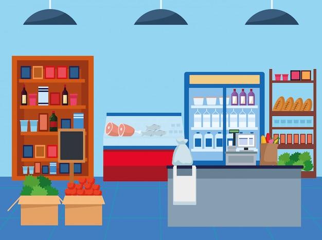 Продуктовые магазины со сценой продуктов