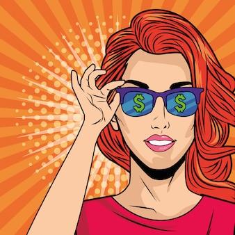 Молодая девушка с очками в стиле поп-арт