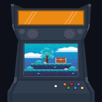 ビデオゲームのピクセル化されたレトロなマシンアイコン