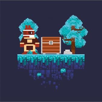 ピクセル化されたシーンの宝箱を持つビデオゲームの戦士