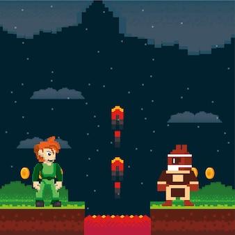 Видеоигры воинов в неровной сцене