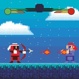 ピクセル化されたシーンのビデオゲームの戦士