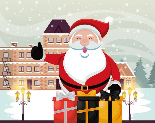 Рождественская снежная сцена с санта клаусом и подарками