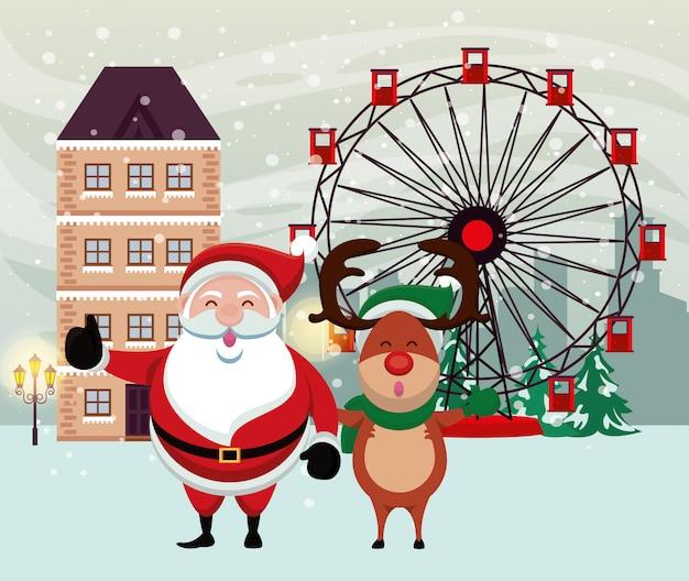 Рождественская снежная сцена с санта клаусом и оленем