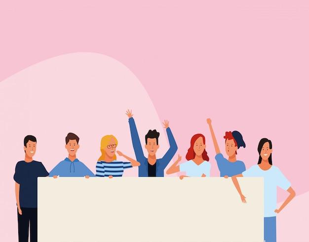 Мультфильм счастливые люди протестуют с пустым плакатом