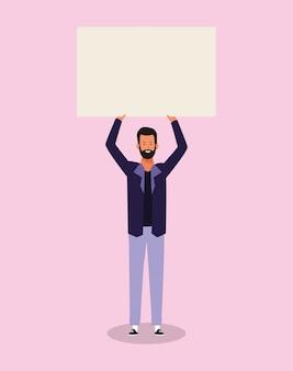 Счастливый мультяшный человек, стоящий с пустым плакатом