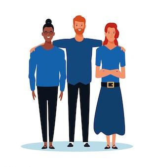 漫画の女性と立っている男