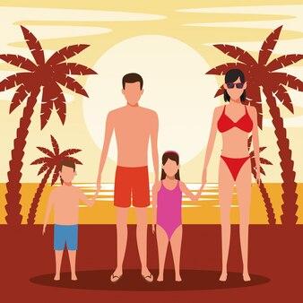 ビーチで水着を着ている子供とアバター家族