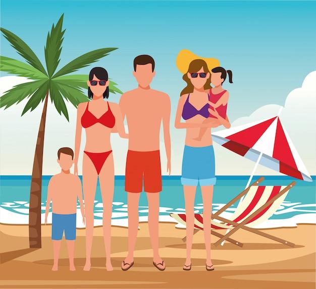 アバター家族とビーチで小さな子供を持つ女性