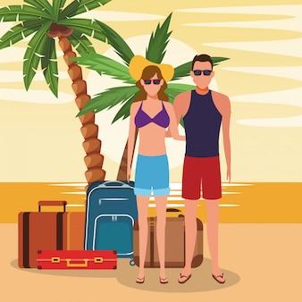 ビーチでスーツケースとアバターカップル