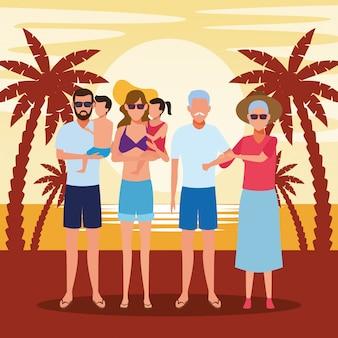 アバターの老夫婦とビーチで子供と家族