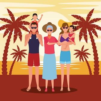歳の女性と夕日のビーチで子供と家族