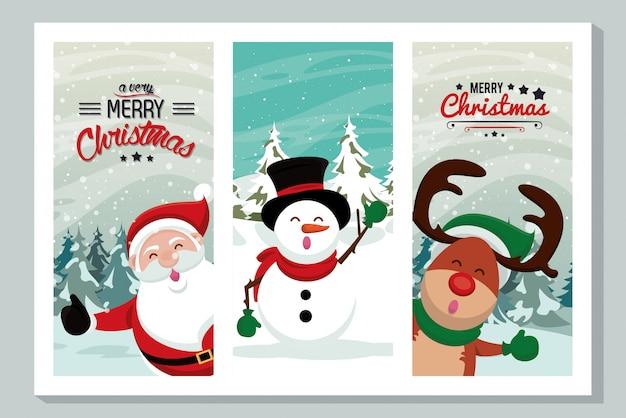 Счастливая веселая рождественская открытка с милыми персонажами