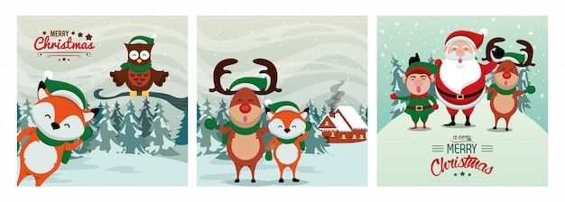かわいいキャラクターとハッピーメリークリスマスカード