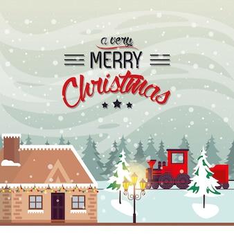 電車でクリスマス冬ストリートシーン