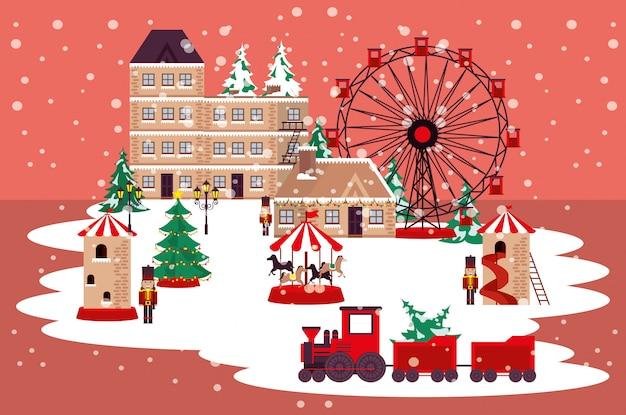 パノラマホイールとクリスマス冬ストリートシーン