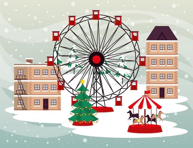 Рождественская зимняя уличная сцена с панорамным колесом
