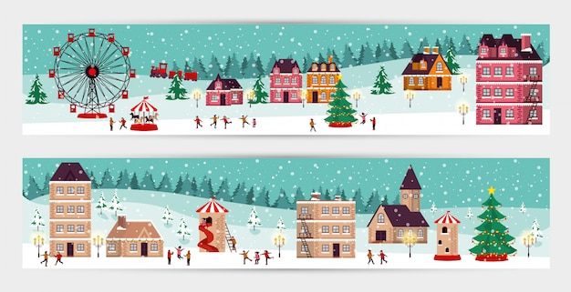 Связка рождественской зимней уличной сцены