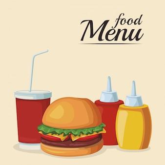 ソースボトルとソフトドリンクのハンバーガー