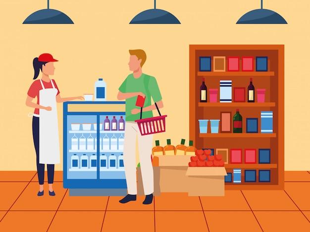 スーパーマーケットの通路で顧客を助けるスーパーマーケット労働者