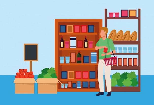 スーパーマーケットのアバター男は野菜や食料品で立っています。