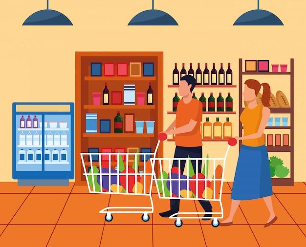 Женщина и мужчина с супермаркетом автомобилей в супермаркете проход, красочный дизайн