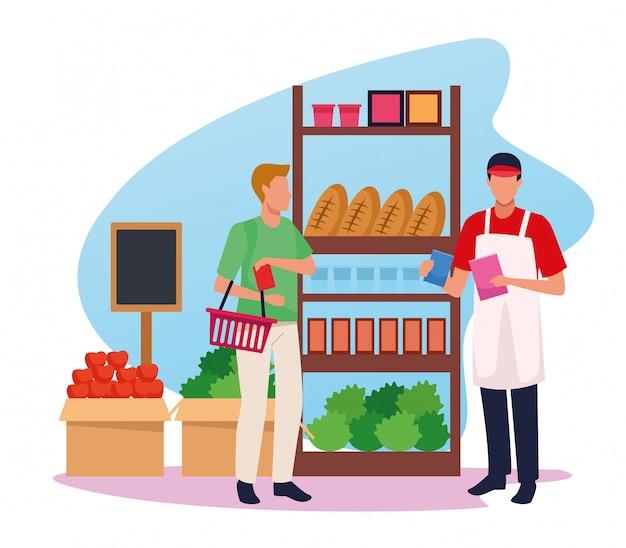 Работник супермаркета «аватар» помогает клиенту в проходе супермаркета