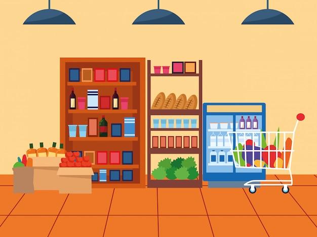 Супермаркет проход с полками с продуктами и холодильником для напитков