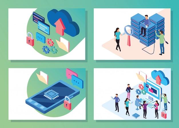 人とデバイスのベクトルイラストデザインとビッグデータテクノロジー