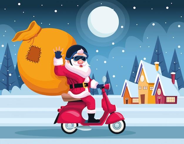 Веселая рождественская открытка с санта-клаусом в мотоцикле векторные иллюстрации дизайн