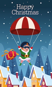 Рождественская открытка с эльфом в парашюте