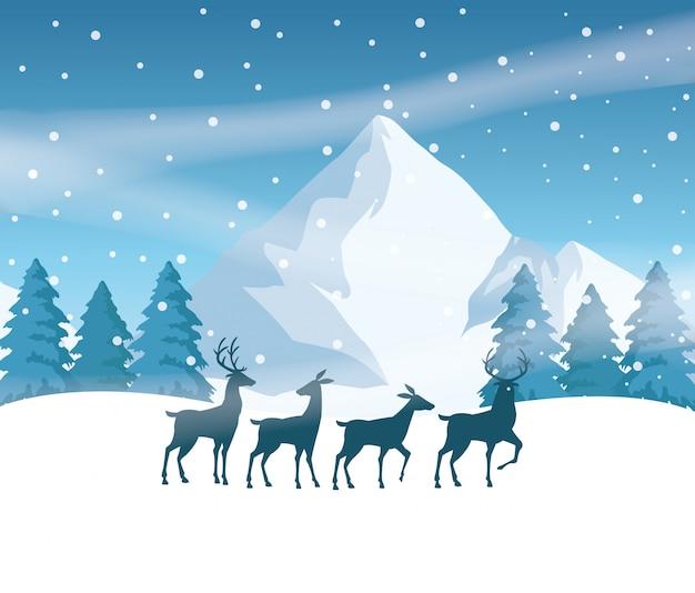 トナカイシルエットベクトルイラストデザインの森雪景色シーン
