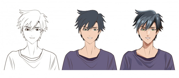 若い男アニメスタイルキャラクターベクトルイラストデザインの描画プロセス