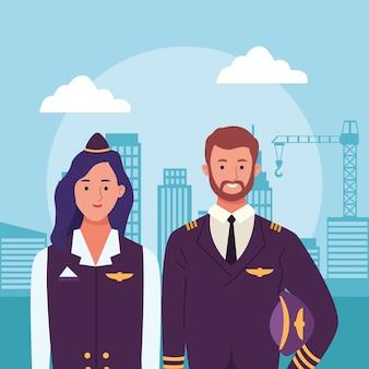 漫画のエアホステスと都市の建物のシーン上のパイロット