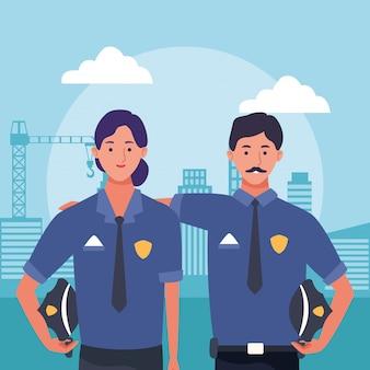 漫画の警察の男性と女性の都市の建物