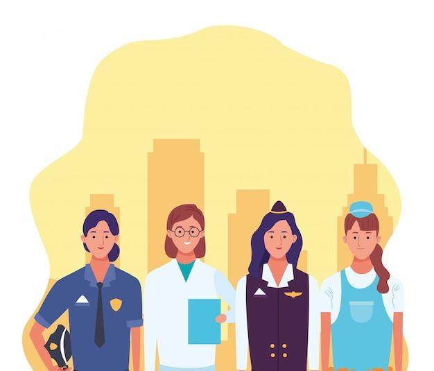 医者、空気のホステス、修理労働者と警察の女性