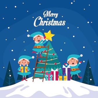 ツリーとエルフのイラストと冬の雪景色クリスマスシーン