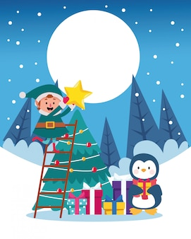 ツリーとペンギンのイラストと冬の雪景色クリスマスシーン
