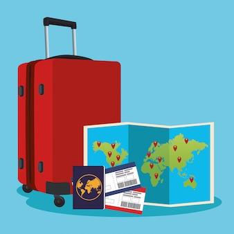 世界地図、パスポート、パスボードを備えた旅行用スーツケース