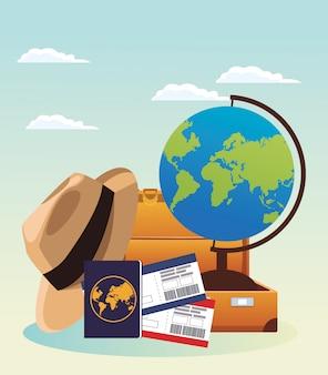 Глобус и дорожный чемодан и шляпа с компасом и паспортом, разноцветные