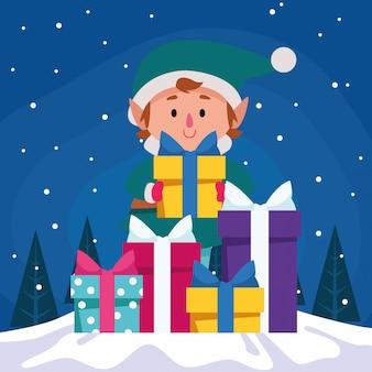 Красочные подарочные коробки и помощник санты, с рождеством