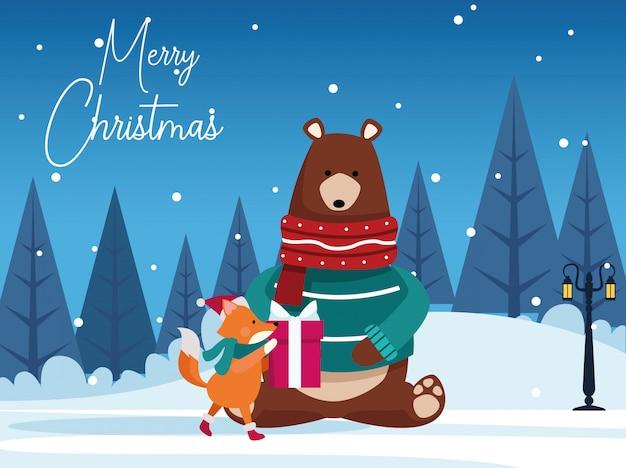 クリスマスのクマとキツネのギフトボックス