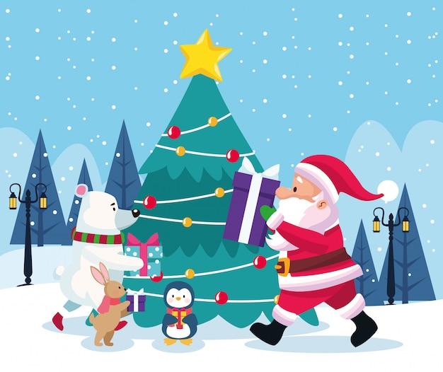 サンタクロースと冬の風景、カラフルなイラストの周りのかわいいクリスマス動物とクリスマスツリー