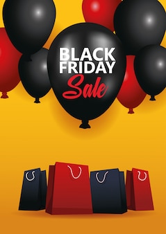 ショッピングバッグと風船のヘリウムと黒い金曜日販売ポスター