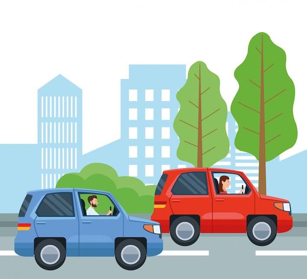 車のデザインを運転する人々、輸送ドライブ旅行交通速度道路とテーマベクトルイラスト