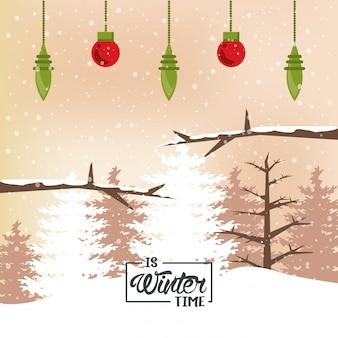 Зима с лесной сценой и подвесными шарами