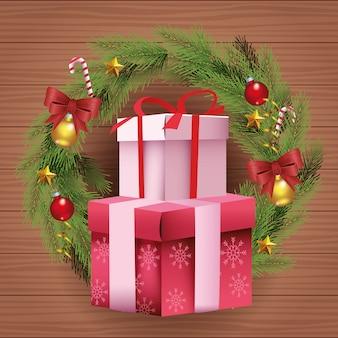 Подарочные коробки и рождественский венок