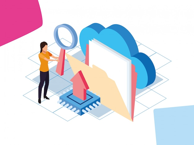 Красочный дизайн больших данных с женщиной с папкой и облачным хранилищем